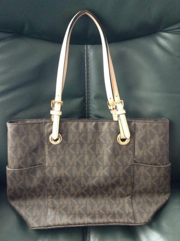Michael Kors Leather Jet Set Logo Print Signature Brown Tote Handbag - Like New