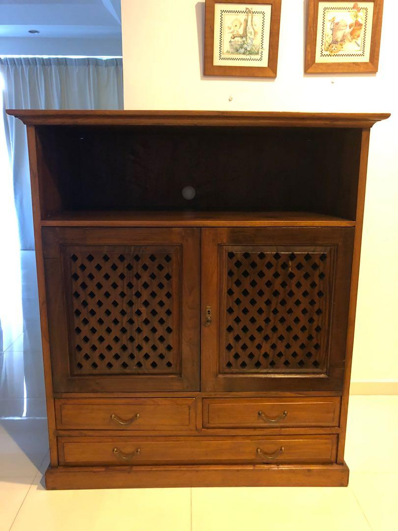 Solid Teak Wood Tv Cabinet Console Furniture Shelves Drawers On Carousell