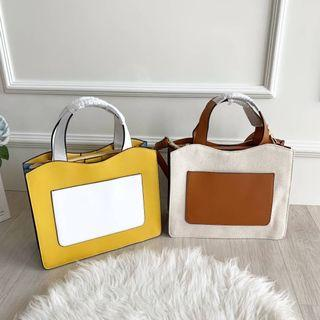 TAS CHARLES AND KEITH FRONT POCKET DOUBLE TOP HANDLE BAG CNK 798 ORIGINAL