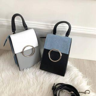 TAS CHARLES AND KEITH TWO TONE RING DETAIL ELONGATED TOP HANDLE BAG CNK 799 ORIGINAL