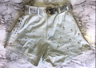 Vintage Jeans Shorts with Pearl Detailing