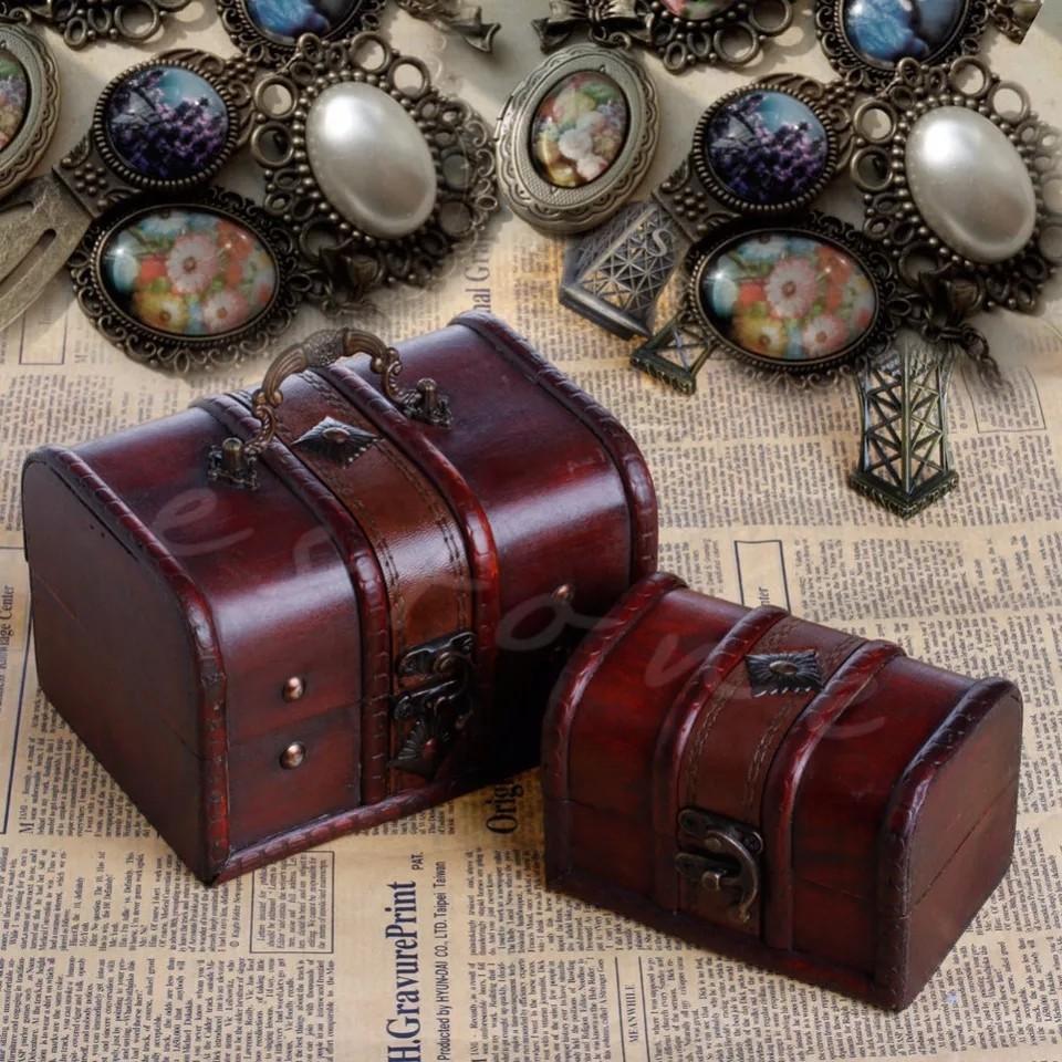 1 Set Wooden Pirate Storage Box Vintage Treasure Chest