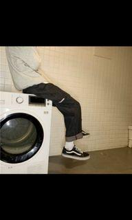 黑色牛仔工裝褲