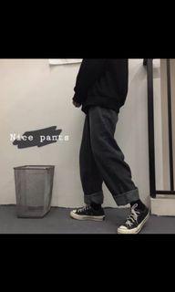 灰黑色落地牛仔褲