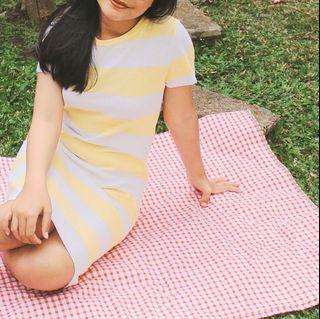 COME yellow striped knit dress