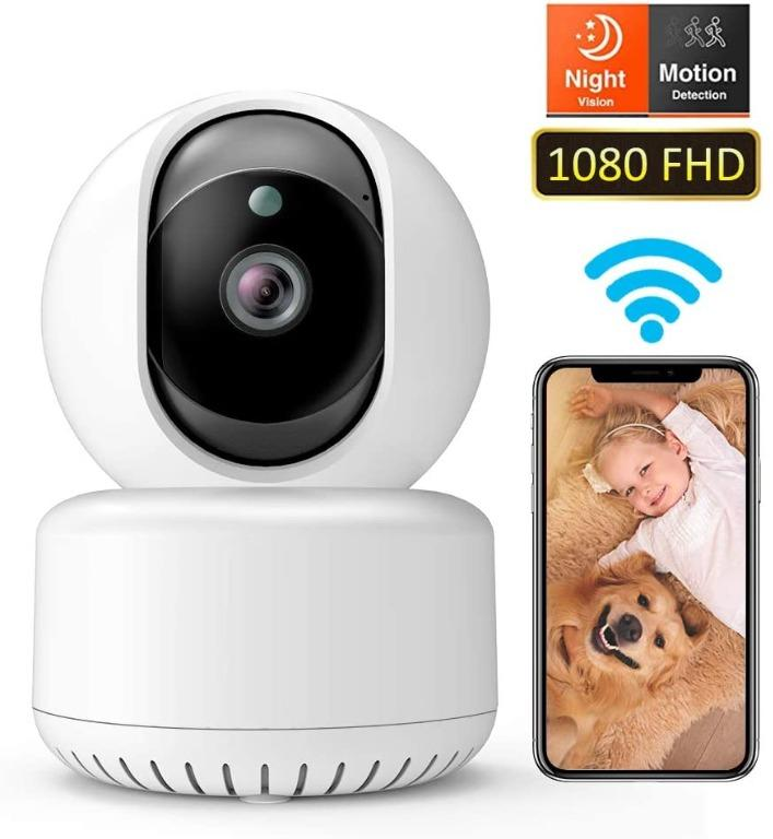 US Plug 1080P FHD Camera,Wireless WiFi IP Home Security Camera with Motion Detection Night Vision 2-Way Audio 3D Digital Noise Reduction for Baby//Pet//Elder