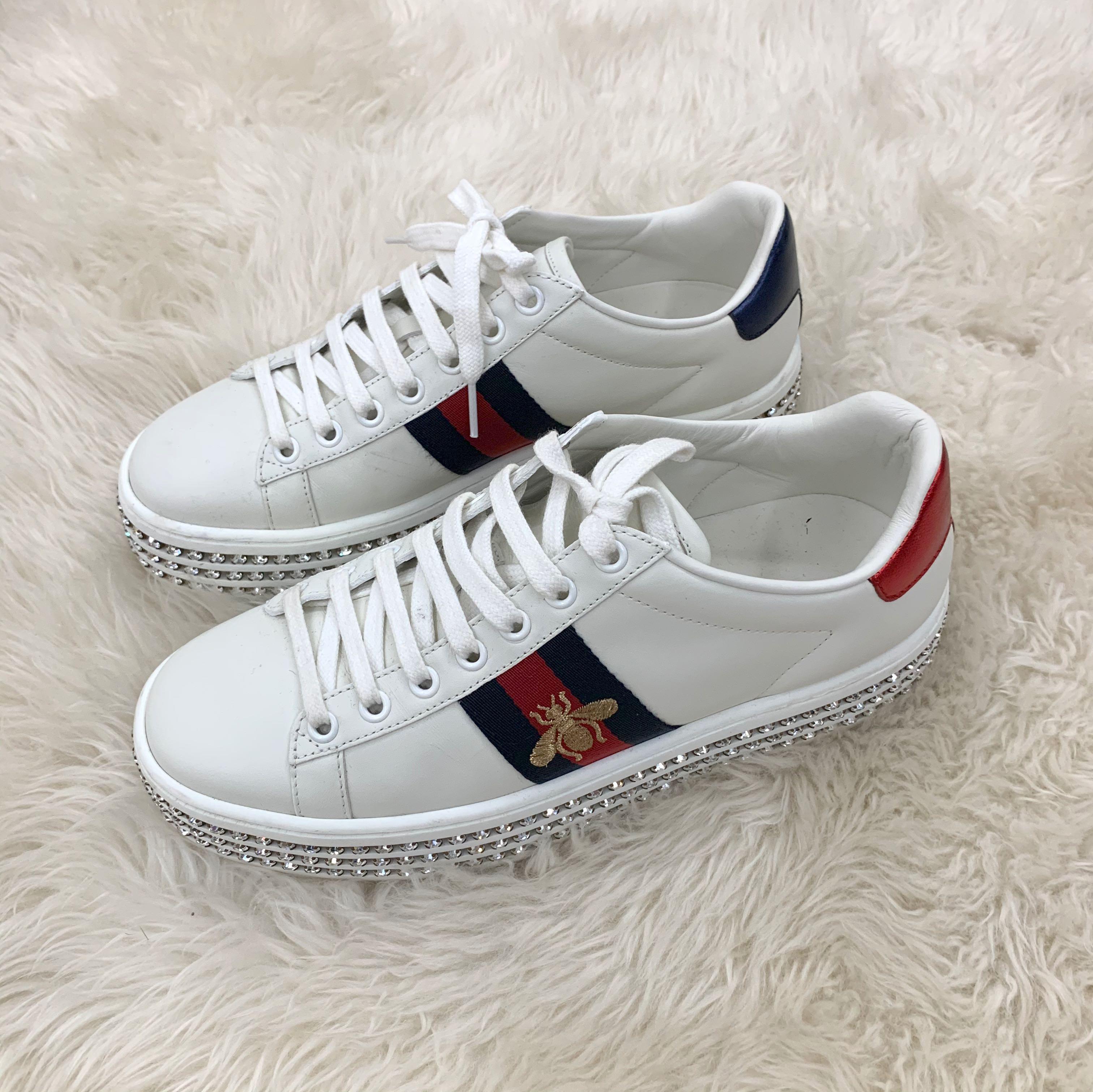 Gucci Sneaker Shoe Bee in White diamond