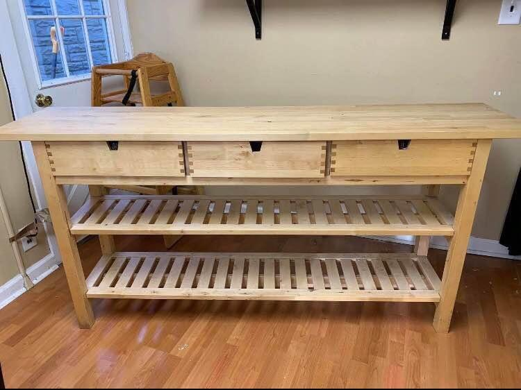 Ikea Solid Wood Norden Island Table Console Occasional Butcher Block Style Kitchen Sideboard Bar With 3 Drawers 2 Shelf Home Furniture Others On Carousell