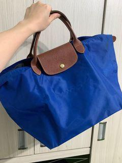 Longchamp 短柄中號防水尼龍水餃包-寶藍色
