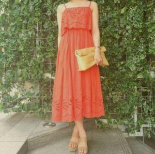 原價3千近全新mercuryduo 雕花布蕾絲細肩長洋裝 橘紅F
