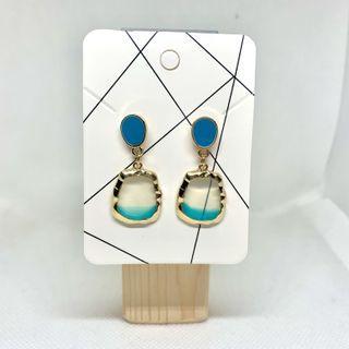耳環💙耳夾🧡全新斯文淺藍半透明吊飾款(16)
