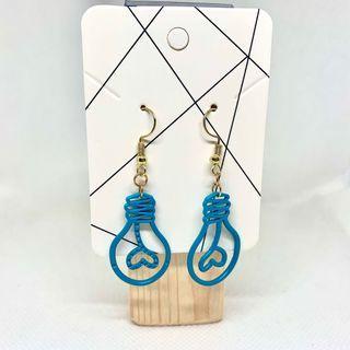耳環💙耳夾🧡全新藍色燈泡扭線款(20)