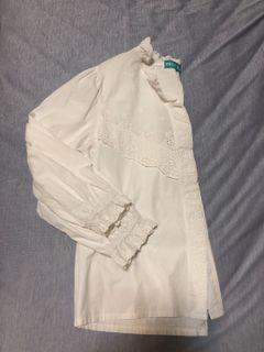 🤍✖️珍珠釦鏤空雕花荷葉邊內搭白長袖