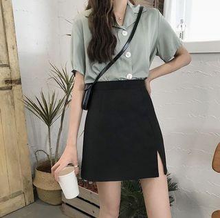 高腰顯瘦開衩黑色半身裙A字裙