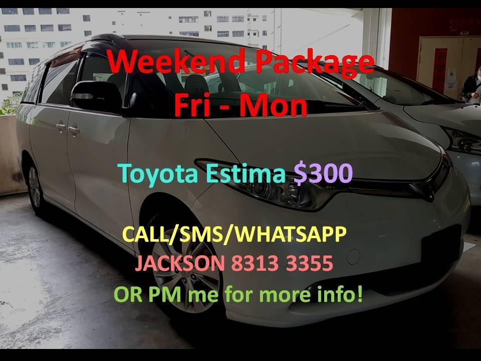 Car Rental Toyota Estima Full Spec (Full Remote) Fri-Mon Weekend Package 21 - 24 Aug P Plate Friendly ( Woodlands 11 )