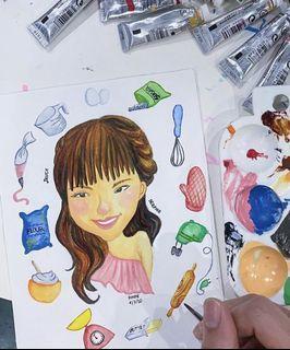 Illustration / caricature / logo watercolour art