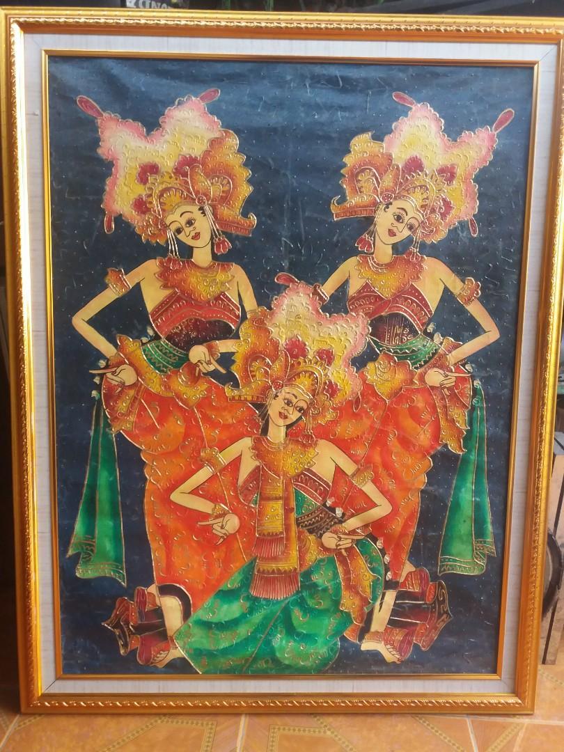 Lukisan Tari Pendet Bali antik