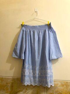 Sabrina Top Blue / Atasan Blouse Biru Muda Plus Size