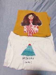 💛✖️🤍火箭🚀山脈芥末黃女孩T shirt