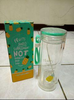 全新 鳳梨 湖水綠 雙層玻璃水壺 玻璃水瓶 玻璃瓶 有吊繩 300ml