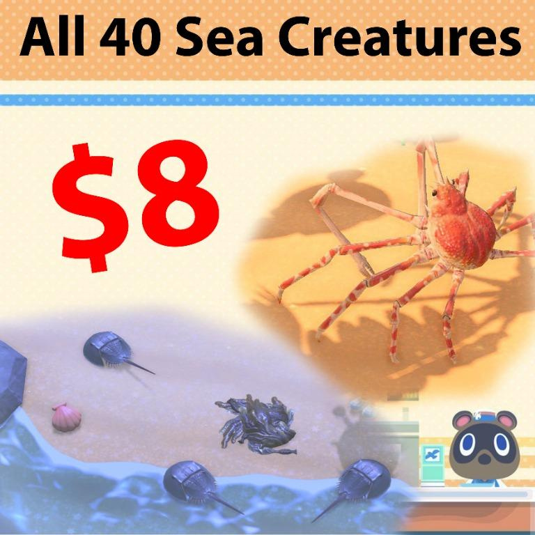 All 40 sea creatures in animal crossing