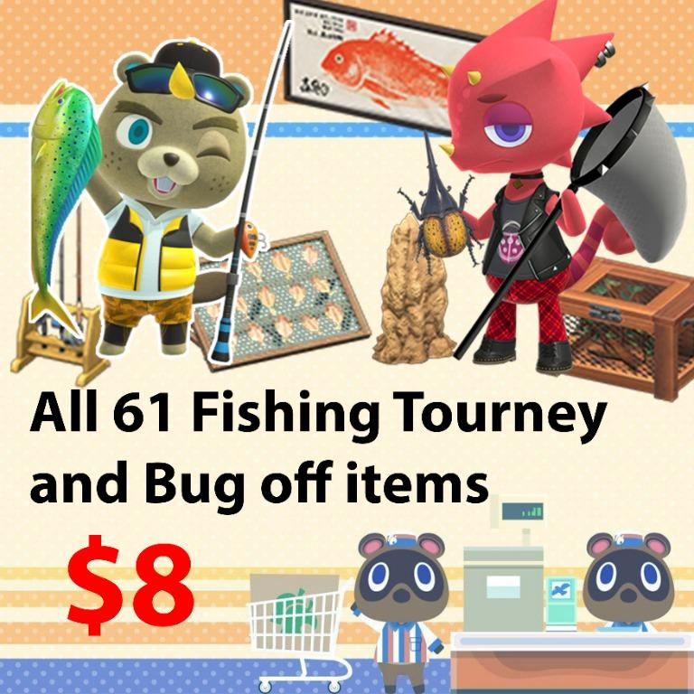 All 61 fishing tourney and bug off items in animal crossing