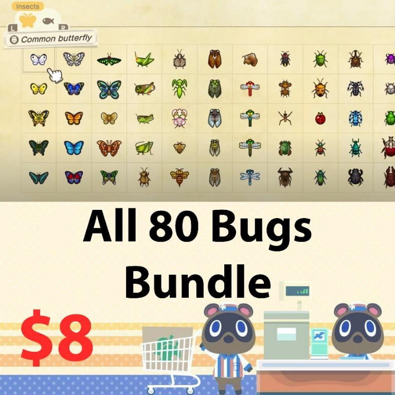 All 80 bugs for museum in animal crossing