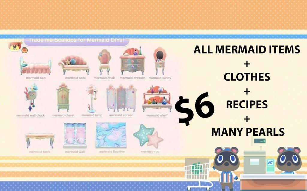 All mermaid recipes + items + clothes + pearls