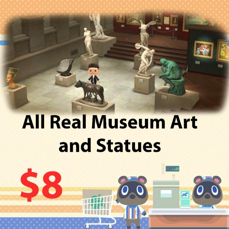 All real museum art and statues in animal crossing
