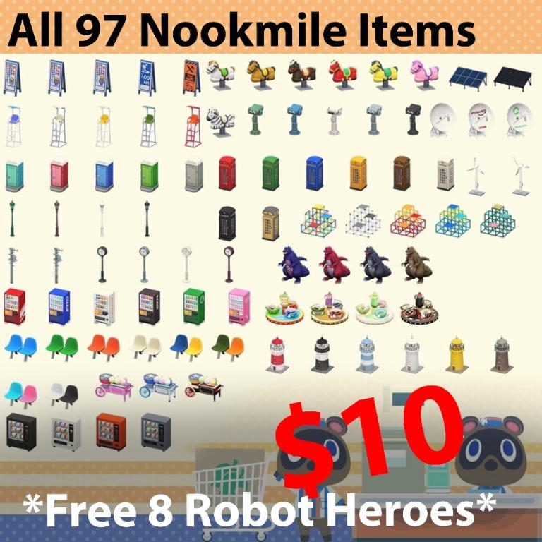 All redeemable nookmile items from ABD machine in animal crossing in all colors