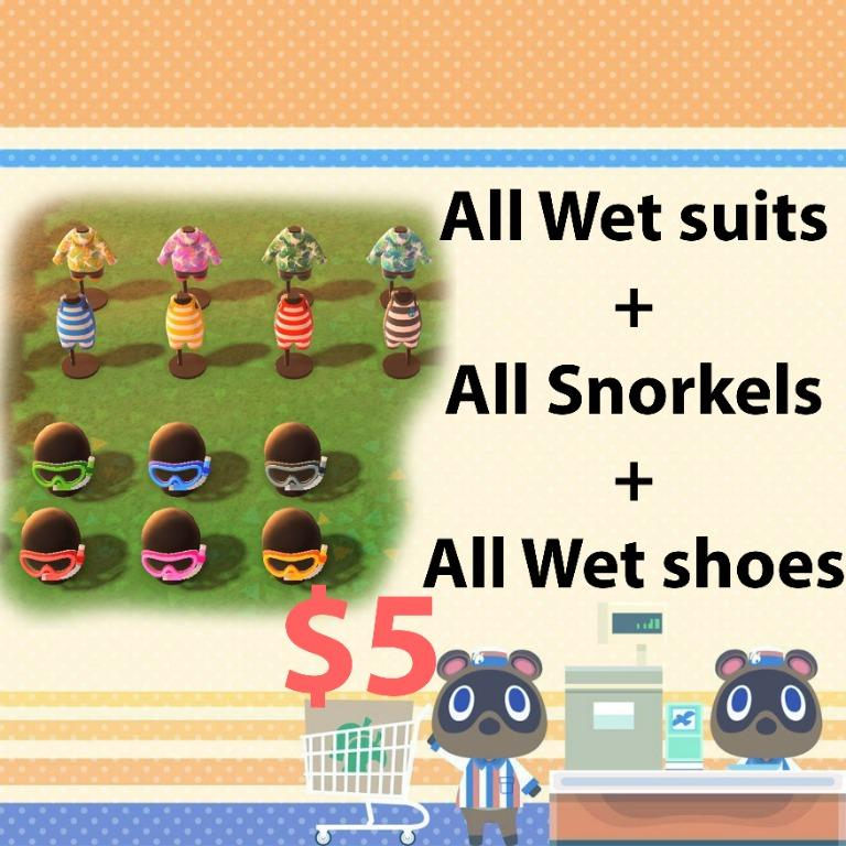 All wet suits + snorkels + wet shoes in all colors in animal crossing