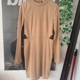 Beige Thick Ribbed Cutout Bodycon Dress