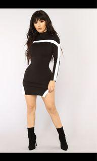 BNWT High neck black and white bodycon dress with side slit