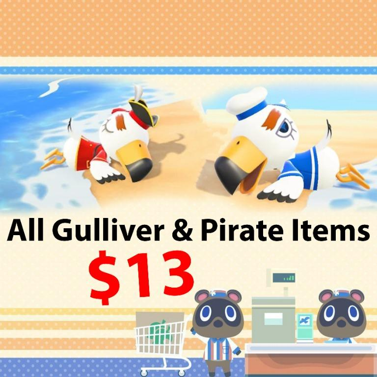 *COMBO* Gulliver and Gullivarr pirate items in animal crossing