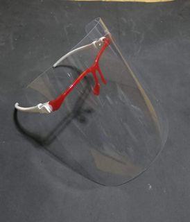 Face Shield Kacamata Merah-Putih