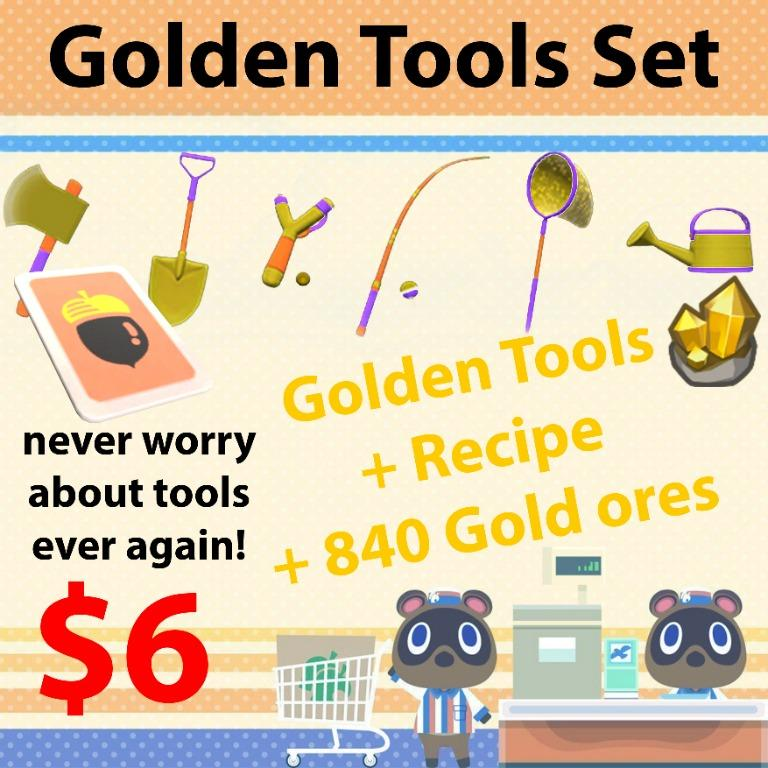 Golden tool set with gold ores in animal crossing