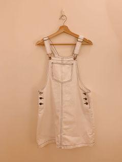 Meier q 牛仔吊帶裙 - 白色