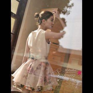 全新正韓miluku紡紗裙氣質無袖高腰短洋裝婚禮謝師宴尾牙唐葳許路兒zara.
