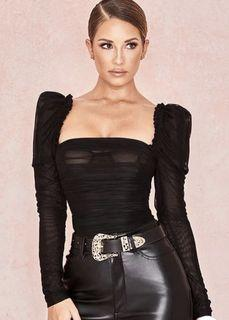 Ruched Sheer Black Bodysuit with puff sleeves