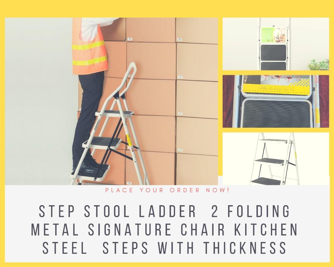 Step Stool Ladder  2 Folding  Metal Signature Chair Kitchen  Steel  Steps with thickness