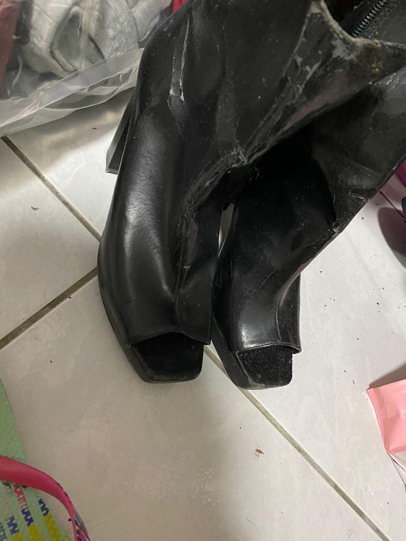 Zara大尺碼26.5cm人造皮中跟鞋