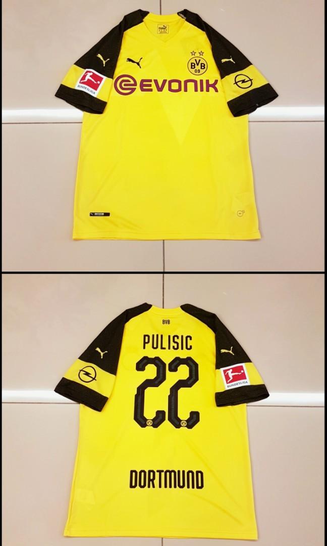Borussia Dortmund 18 19 Home Jersey Bundesliga 22 Pulisic Sports Athletic Sports Clothing On Carousell
