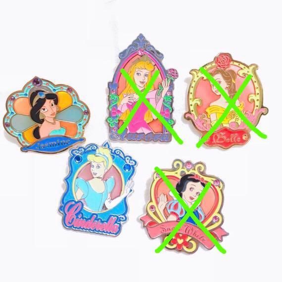 Disney Pin 迪士尼襟章 Princess 公主 - Belle 貝兒 Aurora 睡公主 Cinderella 灰姑娘 Snow White 白雪公主 Jasmine 茉莉