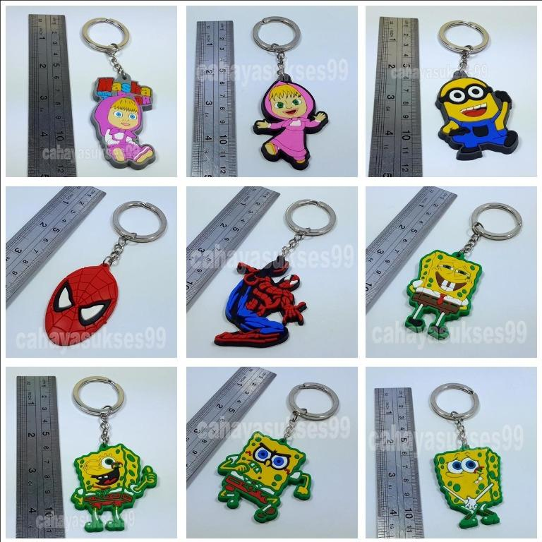 Gantungan Kunci Motor Masha Sp0nge Bob Mini0n Spiderman Keychain Ring Bulat Stainless Exclusive Aksesoris Souvenir Gift Craft Pernak Pernik