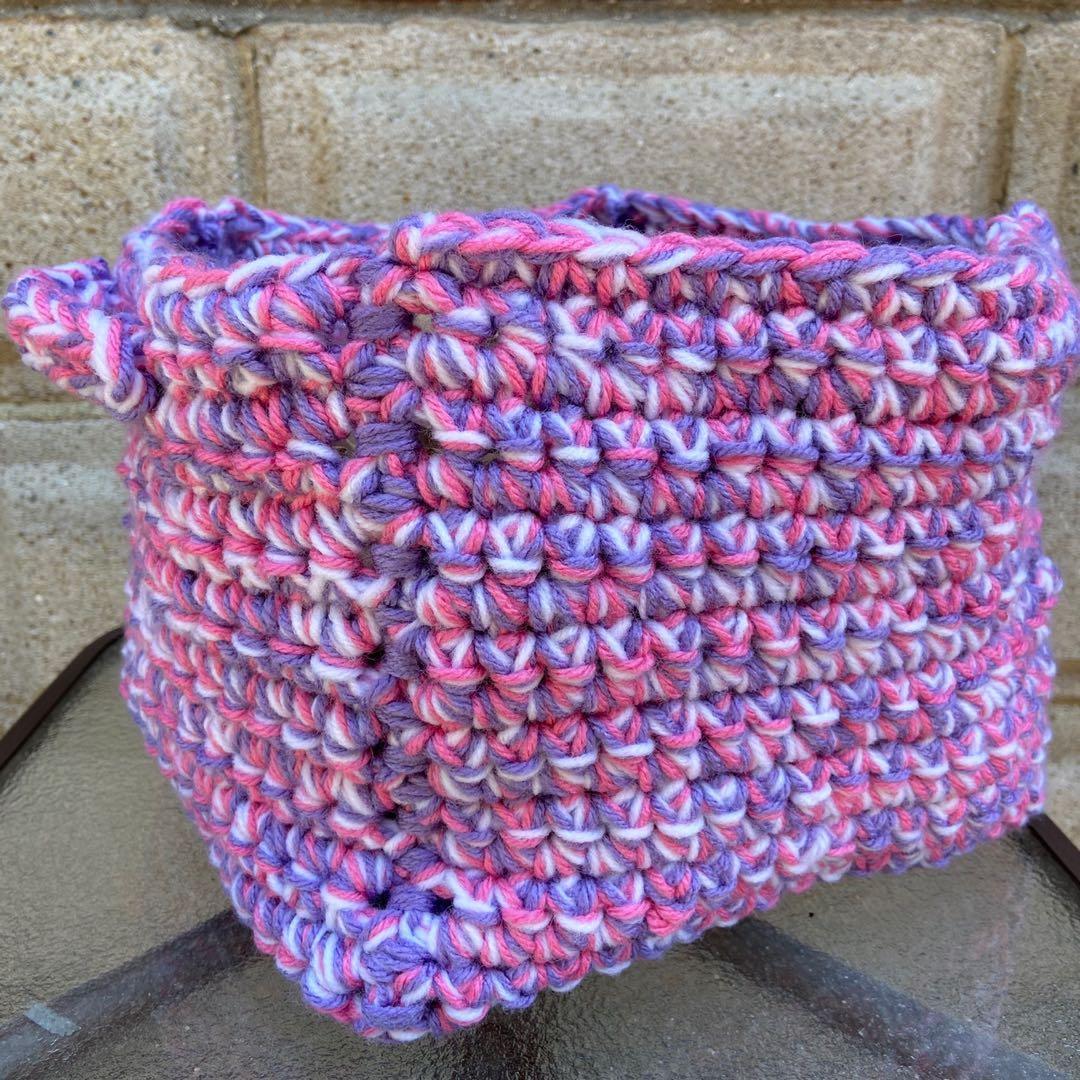 Handmade crocheted Cube shaped basket