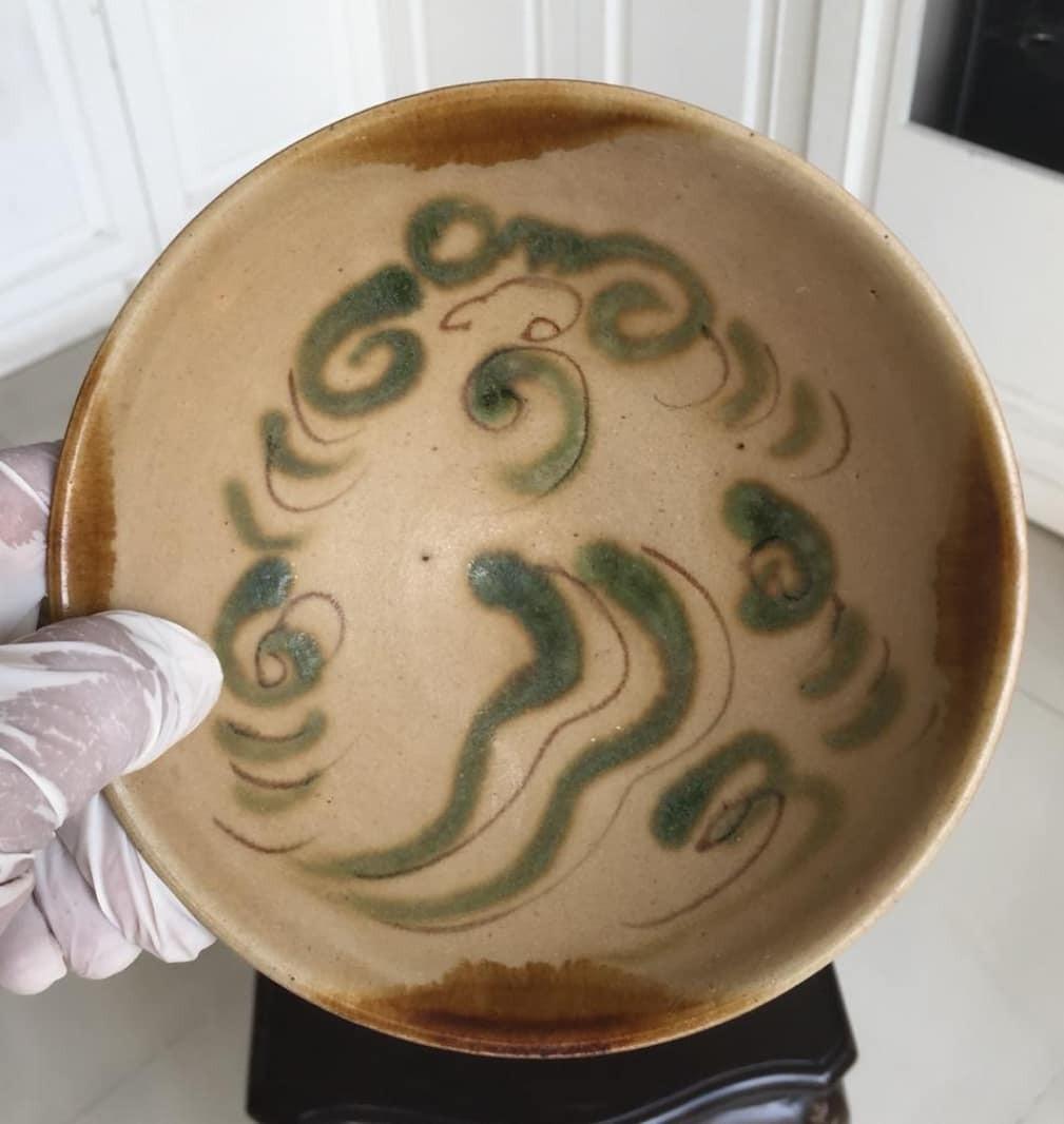Mangkok kuno antik tang dynasty changsa abstrak motif