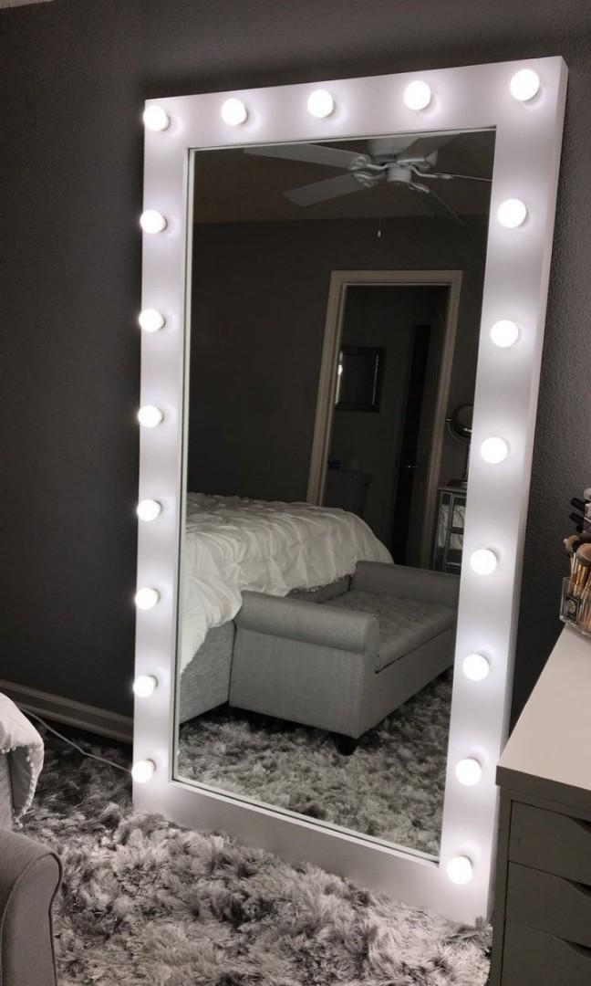Whole Body Vanity Mirror With Free Led Bulbs Home Furniture Furniture Fixtures Lighting And Electricals On Carousell