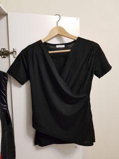 正韓 棉紗氣質交叉黑色上衣