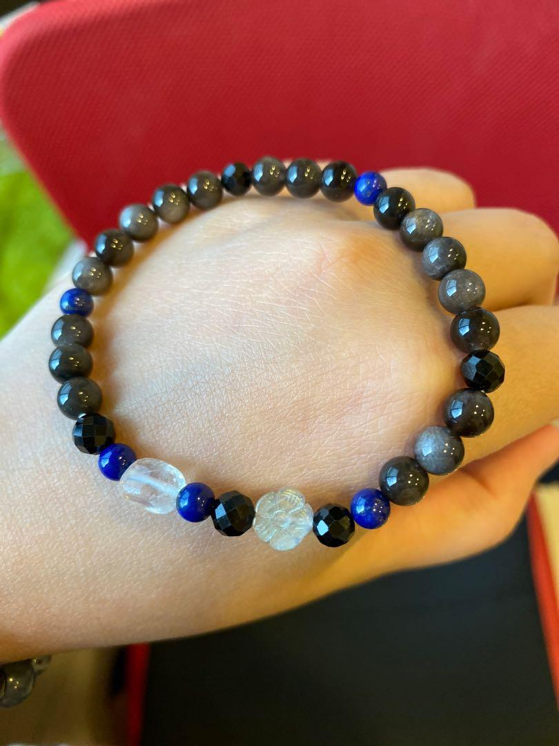 療癒水晶 能量寶石 (灰拉長 月光 黑碧璽 青金石) 手珠 手鍊