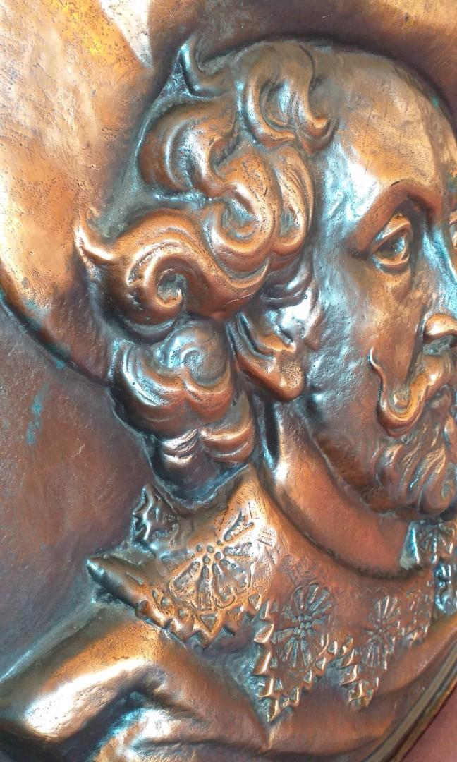 """Antique copper wall picture """"Petrus Paulus Rubens"""" 1st half of the 20th century, france, copper, in good condition signed."""